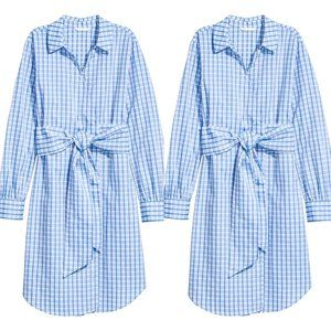 Euc H&M blue check wrap shirt dress 6